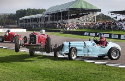 A accident at the chicane during the Goodwood Trophy race at the 2014 Goodwood Revival meeting.Neither driver was seriously hurt.